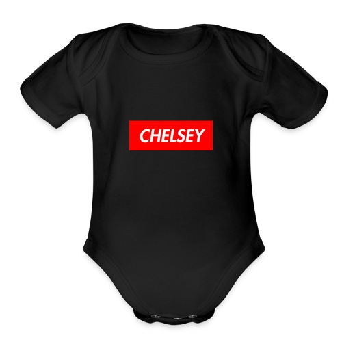 chelseys box logo - Organic Short Sleeve Baby Bodysuit