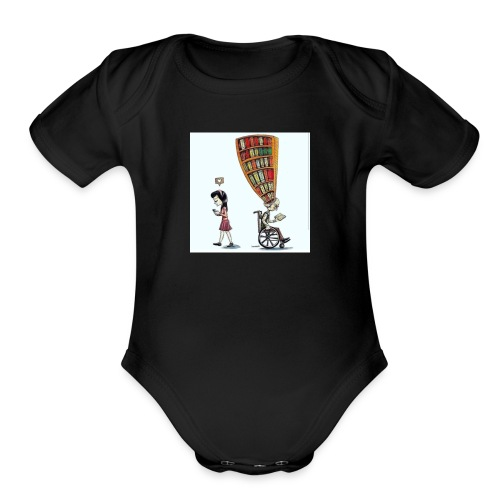 Less mobile more books - Organic Short Sleeve Baby Bodysuit