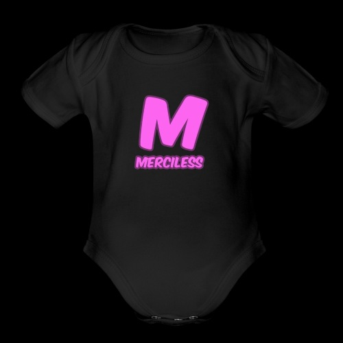 MercilessApparel pink logo - Organic Short Sleeve Baby Bodysuit