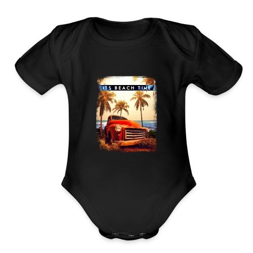 Its Beach Time - Organic Short Sleeve Baby Bodysuit