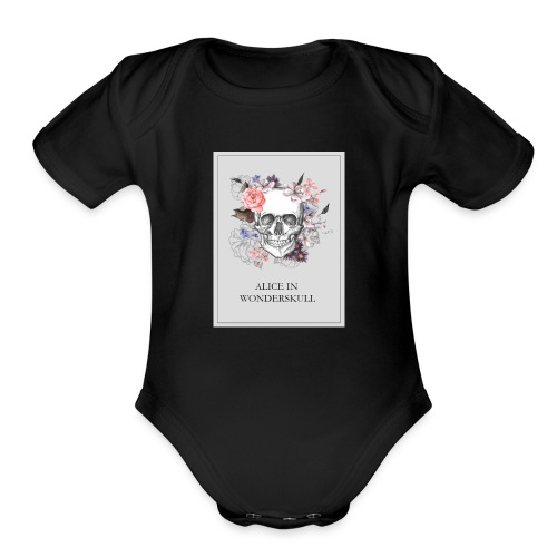 Alice In Wonderskull T-shirt - Organic Short Sleeve Baby Bodysuit