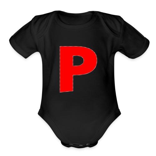 letter p - Organic Short Sleeve Baby Bodysuit