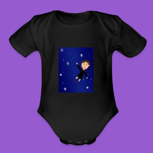 flying space girl - Organic Short Sleeve Baby Bodysuit