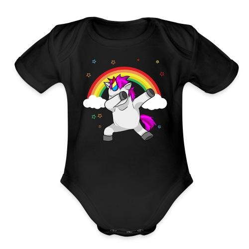 Dabbing Unicorn Funny Dab Dance Rainbow - Organic Short Sleeve Baby Bodysuit
