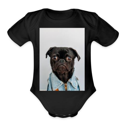 pug expression cute dog t-shirt - Organic Short Sleeve Baby Bodysuit