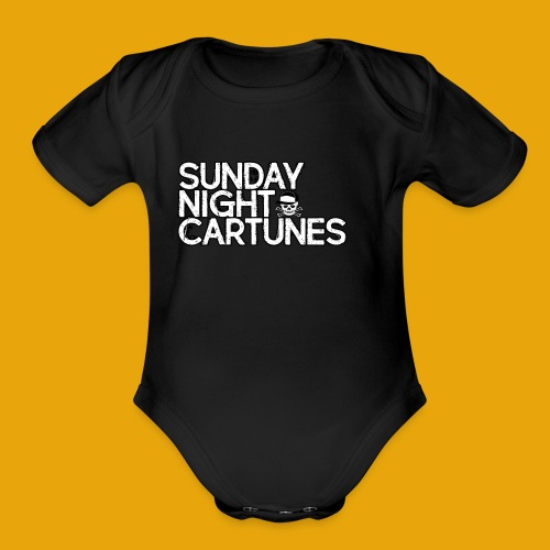 Sunday Night Cartunes Skull - Organic Short Sleeve Baby Bodysuit