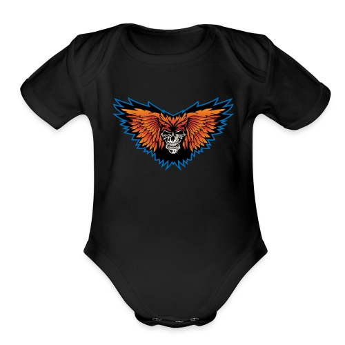 Winged Skull Illustration - Organic Short Sleeve Baby Bodysuit