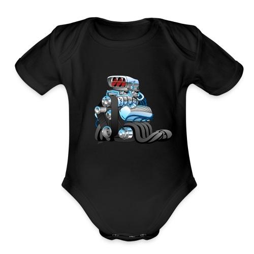 Hotrod Racing Car Engine Cartoon Illustration - Organic Short Sleeve Baby Bodysuit