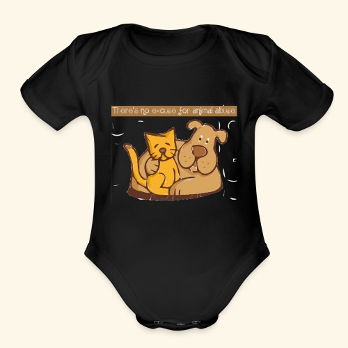 No excuse for animal abuse - Organic Short Sleeve Baby Bodysuit
