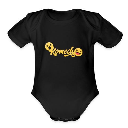 Komedy Basic Logo - Organic Short Sleeve Baby Bodysuit