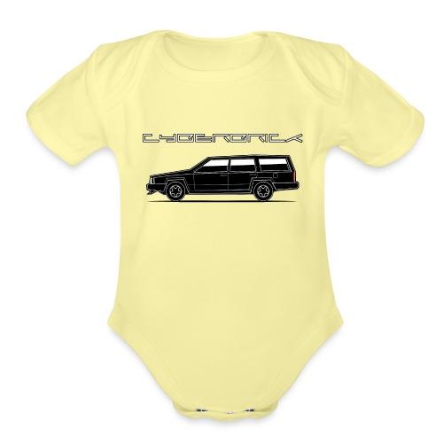 Cyberbrick Future Electric Wagon Black Outlines - Organic Short Sleeve Baby Bodysuit