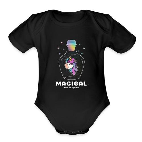 magical bottle design - Organic Short Sleeve Baby Bodysuit