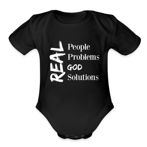 Real God (white logo) - Organic Short Sleeve Baby Bodysuit