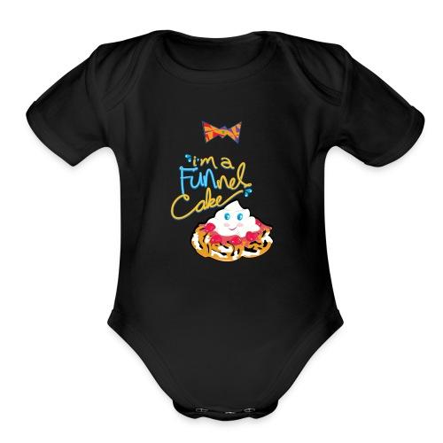funnel cake with tie - Organic Short Sleeve Baby Bodysuit