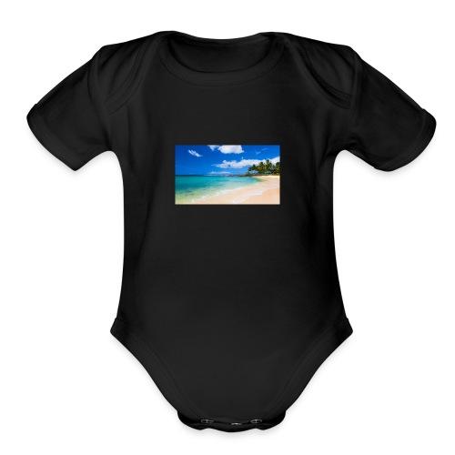 poipu beach park hawaii 0 - Organic Short Sleeve Baby Bodysuit