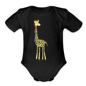 giraffes spend a lot on ties... - Short Sleeve Baby Bodysuit