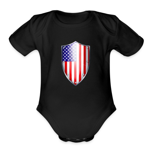 shield small - Organic Short Sleeve Baby Bodysuit