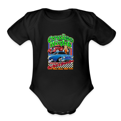 Cruise Night Hot Rods & Classic Cars Illustration - Organic Short Sleeve Baby Bodysuit