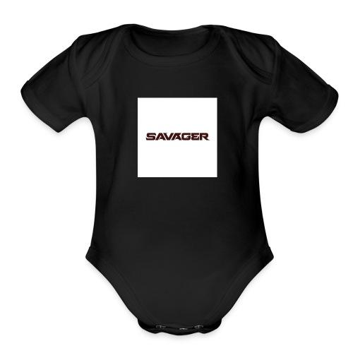 savagerRedLogo - Organic Short Sleeve Baby Bodysuit