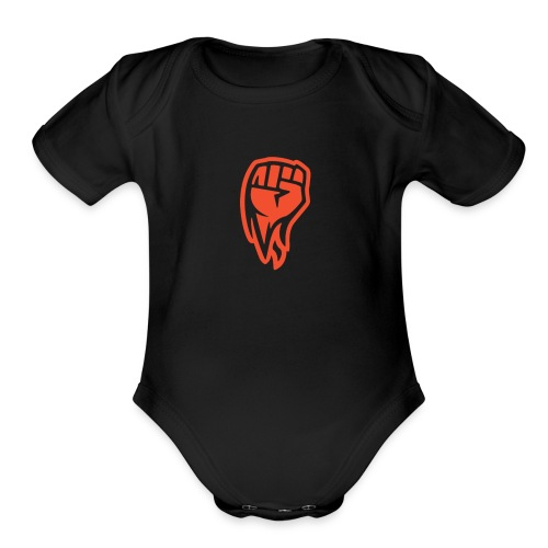 red hand - Organic Short Sleeve Baby Bodysuit