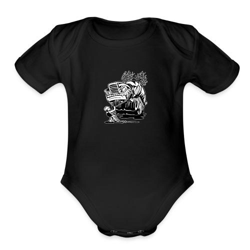 Cement Truck Mixer Cartoon - Organic Short Sleeve Baby Bodysuit
