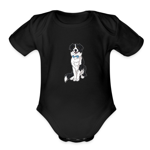 Border Collie Frankie - Transparent Background - Organic Short Sleeve Baby Bodysuit