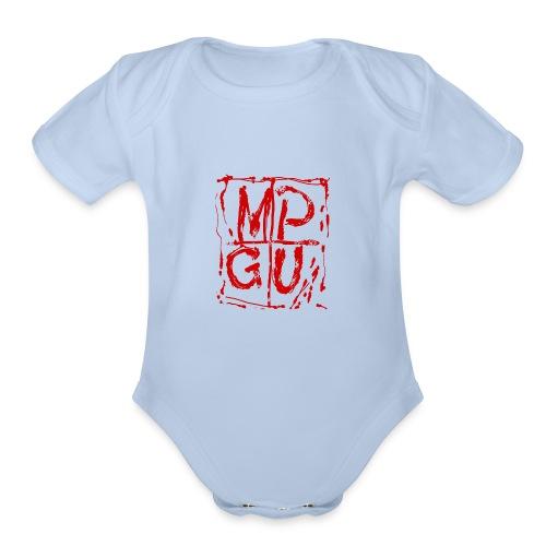 MPGU RED STROKE - Organic Short Sleeve Baby Bodysuit