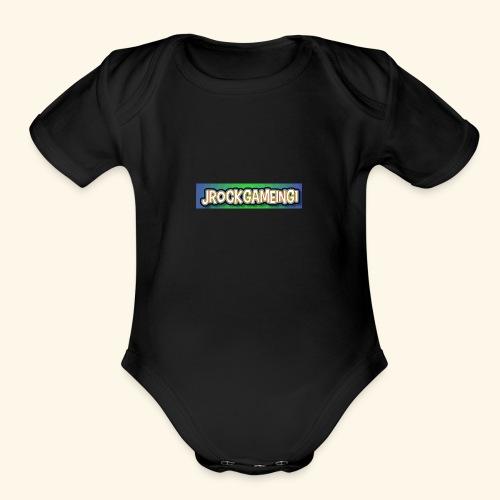 JrockGameing1 logo - Organic Short Sleeve Baby Bodysuit