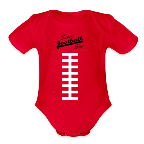 Football Laces for Baby 2 - Organic Short Sleeve Baby Bodysuit
