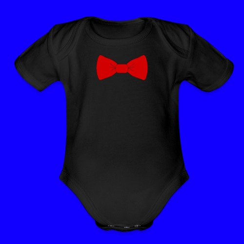 red bow tie - Organic Short Sleeve Baby Bodysuit