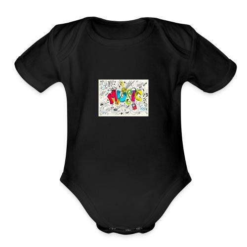 music banner - Organic Short Sleeve Baby Bodysuit