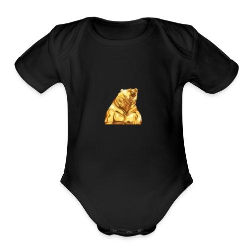 Gold bear - Organic Short Sleeve Baby Bodysuit
