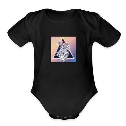 Rose Triangle - Organic Short Sleeve Baby Bodysuit
