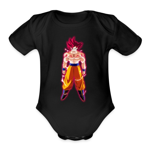 goku ssj god full power by theansemporofan003 d6mw - Organic Short Sleeve Baby Bodysuit