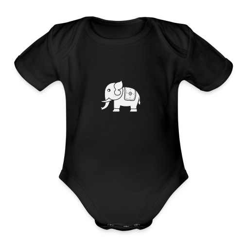 Cute Indian Elephant - Organic Short Sleeve Baby Bodysuit