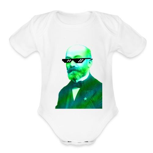 Green and Blue Zamenhof - Organic Short Sleeve Baby Bodysuit