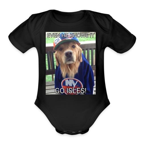 NY Islanders Dog Meme - Organic Short Sleeve Baby Bodysuit