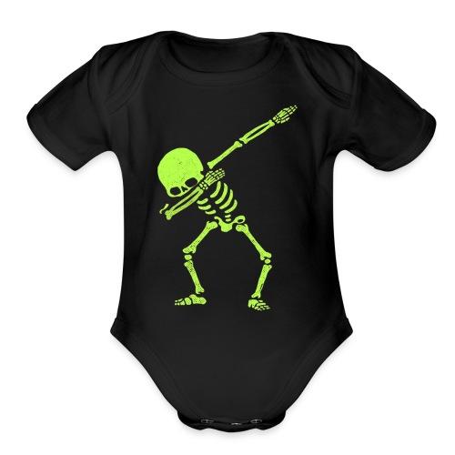 Dabbing Skeleton Shirt Dab Hip Hop Skull Pre - Organic Short Sleeve Baby Bodysuit