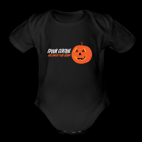 Spook Central, Halloween Year Round - Organic Short Sleeve Baby Bodysuit