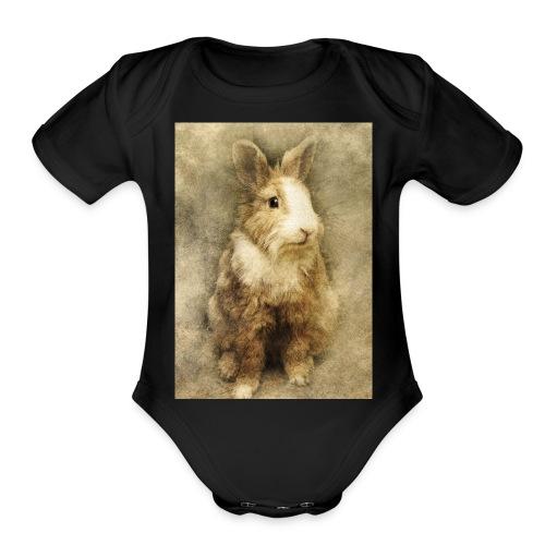 Rabbit portrait 1 - Organic Short Sleeve Baby Bodysuit