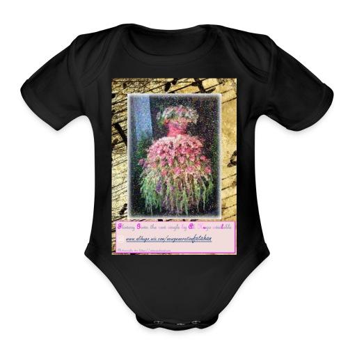 Flowery Gown - Organic Short Sleeve Baby Bodysuit