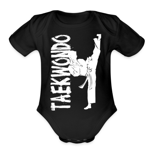 Taekwondo kick right foot - Organic Short Sleeve Baby Bodysuit