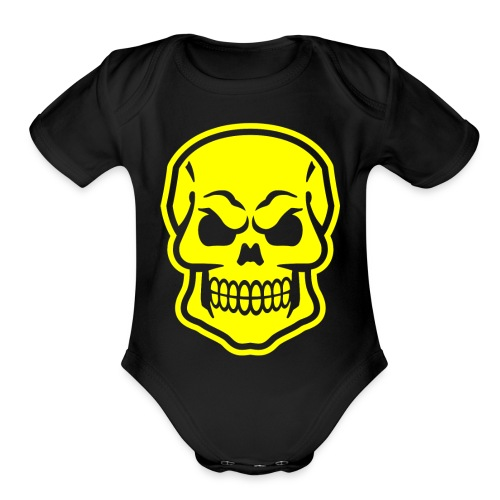 Skull vector yellow - Organic Short Sleeve Baby Bodysuit