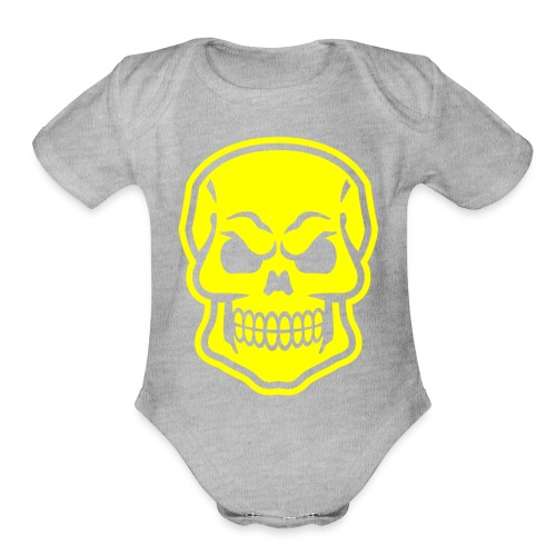 Skull vector yellow - Organic Short Sleeve Baby Bodysuit