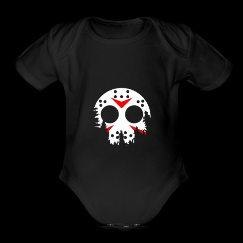 Haunted Halloween Hockey Mask - Organic Short Sleeve Baby Bodysuit