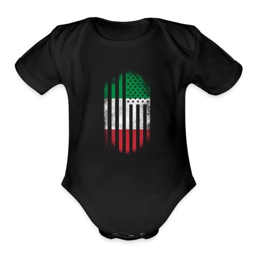 Italian American Flag Italy and USA Design - Organic Short Sleeve Baby Bodysuit