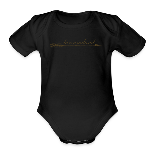 tarzanaland logo custom brown design - Organic Short Sleeve Baby Bodysuit