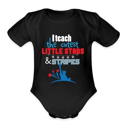 th Of July Teacher American Flag Teaching Gift - Organic Short Sleeve Baby Bodysuit