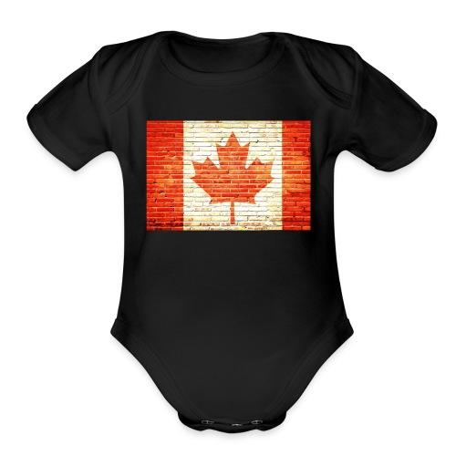 Canada flag - Organic Short Sleeve Baby Bodysuit