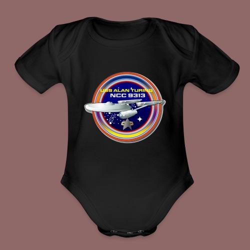 Alan Turing Ship Patch - Organic Short Sleeve Baby Bodysuit